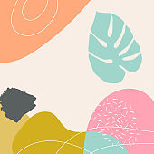 Abstract botanical patterned background vector with monstera palm leaf and doodles