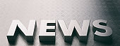 News word text, metal sheet letters and background. 3d illustration