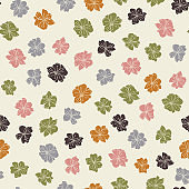 Anemone or windflower poppies flowers background. Floral vector seamless pattern with hand drawn elements in pastel colores.