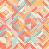 Abstract geometric vector seamless pattern. Contemporary design with simple  shapes . Colorful background with mosaic in retro or Scandinavian style.