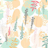 Vector organic seamless abstract background, botanical motif with stylized leaves, flowers and simple geometric shapes. Hand drawn agrimony flowers and hydrangea leaves in pastel colors. Floral pattern.
