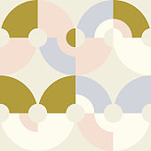 Geometric vector seamless pattern in retro style . Modern background with circles and semicircles inspired by midcentury design.