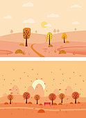 Set Minimal Autumn landscapes panorama of Countryside landscape. Yellow trees foliage, mountains, hills, road. Vector illustration minimal trendy style isolated