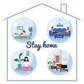 Set Stay home quarantine consept banners self isolation. Young couples and womens sitting at home drink tea coffee, practicing yoga, meditation, watching TV movies. Social media campaign and coronavirus covid 19 prevention epidemic. Vector