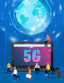 5G internet new mobile wireless technology wifi connection. Start rocket tine people laptop city planet Earth letters 5g. Fifth innovative generation of the global high speed Internet network. Vector concept illustration isolation template