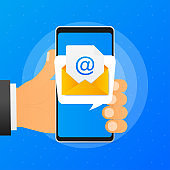 Hand holds phone with mail post message on blue background. Vector illustration.