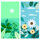 Set of floral spring leaves and flowers vertical backgrounds social media stories templates, color vibrant banners, posters, cover design, wallpapers. Vector isolated illustration