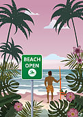 Summer beach banner Open surfer with surfboard. Seascape ocean shore tropical flora palms. Opening season vacation. Vector illustration isolated