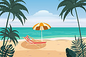 Beautiful tropical landscape seascape, lounge chair, umbrella, banner holiday vacation. Summer beach on sea ocean coast, palms sand surf. Vector isolated cartoon style