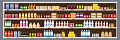 Supermarket Grocery Shelf Store Retail Shop with dairy products assortment mall. Vector isolated ilustration