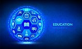 E-learning. Innovative online education technology concept. Webinar, teaching, online training courses. Skill development. Abstract 3D sphere or globe with surface of hexagons with icons. Vector.