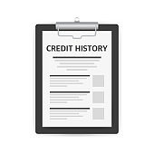 Credit score document vector concept, paper sheet chart of personal credit score information.