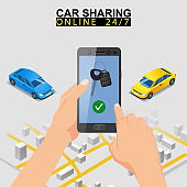Car sharing isometric. Smartphone screen with city map route and points location car. Online mobile application order service. Vector illustration for car sharing service advertisement, promotion