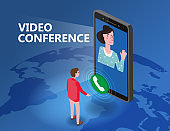 Online meeting Video conference man on screen phone talking by internet in videocall, chat, isometry. Workspace remote management communication meeting. Vector illustration isolated trendy flat style