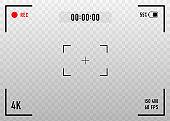 Digital video camera focusing screen. Vector illustration.