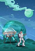 Astronaut exploring alien planet starship. Cosmonaut scientific traveler character on a rocky surface in far galaxy. Cartoon flat style vector illustration banner
