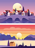 Set Summer sunset seaside landscapes. Cityscape stone bridge, Sea ocean nature hills fields mountains blue sky clouds sun house countryside. Trees and grass rural land. Flat cartoon trendy style vector illustration