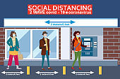 Social distancing and from COVID-19 coronavirus outbreak spreading concept prevention. Crowd people maintain a safe distance 2 meters from others at the line ATM. Vector isolated illustration