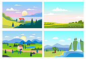 Set Summer sunset seaside landscapes. Sea ocean nature hills fields mountains blue sky clouds sun house farm countryside. Waterfall rocks trees and grass rural land. Flat cartoon trendy style vector illustration