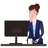 Businesswoman with facepalm gesture. Headache, disappointment or shame sad stressed face, worry disappointed expression office desk with computer. Cartoon style vector illustration isolated