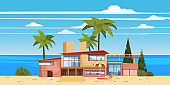 Sea shore beach luxury cottage villa house for rest with palms and plants, sea, ocean. Modern architecture. Sunny summer landscape day vacation seaside. Vector template banner isolated illustration