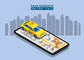 Taxi service isometric. Smartphone with city map route and points location yellow car. Taxi app on display. Online mobile application order taxi service. Vector illustration for taxi service advertisement, promotion