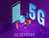 Isometric 5G network wireless technology template. Isometric smartphone with Earth planet letters 5g and tiny people. Fifth innovative generation of the global high speed Internet network. Vector concept illustration isolation