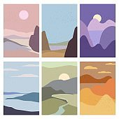 Set Landscapes Abstract Modern Contemporary background sunset sea ocean. Mountains, hills, waves shapes. Vector illustration trendy art flat minimalist style template banner poster decor