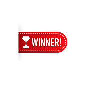 Winner red rubber label with red ribbon on white background. Realistic object. Vector illustration.