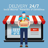 Safe Delivery courer man in medical protective mask with package box food products, laptop online shop store background. Delivery during quarantine pandemic coronovirus COVID-19. Vector illustration isolated