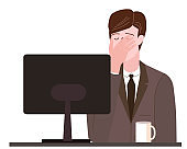 Businessman with facepalm gesture. Headache, disappointment or shame sad stressed face, worry disappointed expression office desk with computer. Cartoon style vector illustration isolated