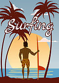 Surfer standing with surfboard on the tropical beach back view. Surfing palms ocean theme retro vintage. Vector illustration isolated template poster banner