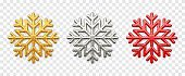 Snowflakes set. Sparkling golden, silver and red snowflakes with glitter texture isolated on transparent background. Christmas decoration. Vector illustration.