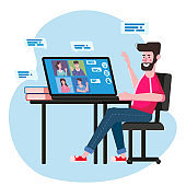 Man worked from home Video conference people on computer screen laptop talking by internet in videocall, chat. Online meeting team workspace remote management communication meeting. Vector illustration isolated trendy flat style