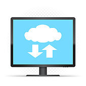 black monitor and cloud service sign