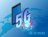 5G internet new mobile wireless technology wifi connection. Isometric smartphone with Earth planet letters 5g and tiny people. Fifth innovative generation of the global high speed Internet network. Vector concept illustration isolation template