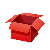 Red box opened, paper, cardboard. Vector template isolated mockup for design products, package, branding.