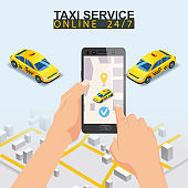 Taxi service isometric. Taxi mobile app template set. Smartphone with city map route and points location yellow car. Online mobile application order taxi service. Vector illustration for taxi service advertisement, promotion