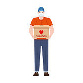 Volunteer man character with donation box. Social care and charity concept illustration. Vector isolated flat cartoon style