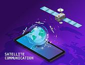 Global internet satellite communication. Satellites flying orbital upon Earth wireless technology smartphone isometryc. Vector isolated illustration