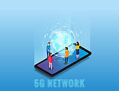 Isometric 5G network wireless technology template. Isometric smartphone with Earth planet and tiny people. Fifth innovative generation of the global high speed Internet network. Vector concept illustration isolation