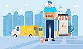 Courier delivery man character delivers goods by van, order tracking online, smartphone city background. Concept vector illustration isolated