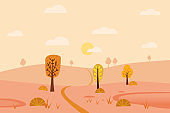 Minimal Autumn landscape panorama of Countryside landscape. Yellow trees foliage, mountains, hills, road. Vector illustration minimal trendy style isolated