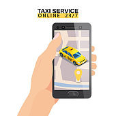 Taxi service isometric. Hand holding smartphone with city map route and points location yellow car. Taxi app on display. Online mobile application order taxi service. Vector illustration for taxi service advertisement, promotion