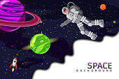Space card background with spaceman, rocket, sun, planets, stars. Austronaut panoramic space template. Banner, vector, isolated cartoon flat style