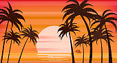 Sunset beach palm trees silhouettes, summertime, tropical sea, ocean. Panorama colorful, horison orange Sun seascape, landscape sailboat. Vector illustration isolated poster flyer invitation card banner
