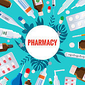 Pharmacy template frame with blister, tubes, spray, syringe, thermometer, pippete, jars, pills, drugs, medical bottles. Drugstore vector cartoon, flat illustration. Medicine and healthcare banner, poster background vector, isolated