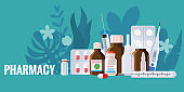 Pharmacy template frame with blister, spray, thermometer, jars, pills, drugs, medical bottles. Drugstore vector cartoon, flat illustration. Medicine and healthcare banner, poster background vector, isolated