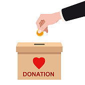 Donation Box with human hand insert golden coin, money. Depositing in a carton container with text banner donate. Vector illustration isolated cartoon style