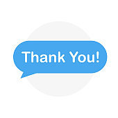 Flat Design Speech Bubble Thank You. Vector Illusatrtion.
